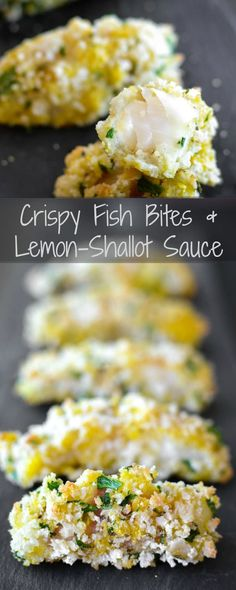 Crispy Fish Bites with Lemon-Shallot Sauce - Baked fish sticks, a healthy & 21 day fix approved dinner recipe perfect for kids and grown-ups alike!