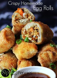 Also her sesame sauce sounds yummy. How to make Crispy Homemade Egg Rolls! This egg roll recipe is easy and delicious filled with pork & veggies! This appetizer can be oven baked or fried. Egg Roll Recipes, Pork Recipes, Asian Recipes, Cooking Recipes, Chinese Recipes, Recipies, Cooking Corn, Chinese Desserts, Easy Recipes