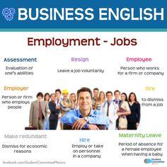"British Council - Business English ""employment and jobs"" English Resources, English Tips, English Class, English Words, English Lessons, English Grammar, Learn English, English Language Learning, Teaching English"