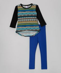 Loving this Royal Abstract Stripe Tunic & Leggings - Girls on #zulily! #zulilyfinds for my fashion forward gal