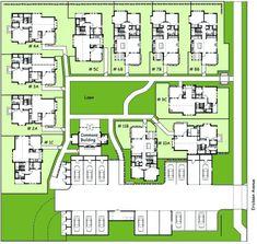 Ericksen Site Plan - Bainbridge Island, WA Co Housing, Community Housing, Tiny House Community, Gated Community, Site Plan Rendering, Site Development Plan, Pocket Neighborhood, Cluster House, Tiny House Village