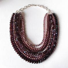 Multistrand Statement Necklace Dark Purple Layered Crystal and Pearl Jewelry Plum Beaded Statement Jewelry. $83.00, via Etsy.