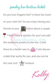 Every Locket Tells A Story. Do you have a story to tell. Let me help you tell them for free with Origami Owl's hostess rewards. For more information on hosting a jewelry bar party or having a book party go to www.luv4charms.com