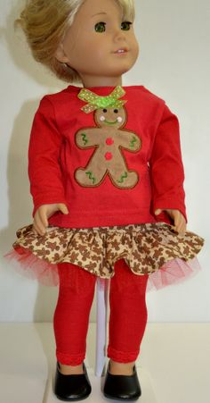 Gingerbread Girl Applique Ensemble Skirt and Top For American Girl I8 Inch Doll £13.33