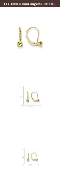 14k 4mm Round August/Peridot Leverback Earrings, Gem Ctw.0.56. Attributes Polished 14k Yellow gold Leverback Genuine Peridot Product Description Material: Primary - Purity:14K Stone Type 1:Peridot Stone Color 1:Green Stone Quantity 1:2 Length of Item:14 mm Stone Weight 1:0.280 ct Charm/Element Length:14 mm Charm/Element Width:4 mm Material: Primary:Gold Stone Shape 1:Round Stone Size 1:4.00 mm Stone Treatment 1:Not Enhanced Width of Item:4.5 mm Product Type:Jewelry Jewelry Type:Earrings…