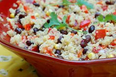 Southwestern quinoa salad with black beans, sweet corn and red peppers
