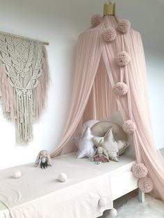 Champagne Canopy, Pom Garland and Macrame Wall Hanging plus toys, pillows and blankie from www.missnmaster.com