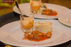 Trilogia do Mar - mexilhão gratinado no pomodoro, casquinha de aratu com farinha d'agua ,lula recheada com shimeji  - Captains Buffet