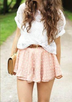 White on polka dotted skirt