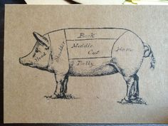 Pig pickin' invitation- pig roast engagement party invitations, butcher cuts of pork
