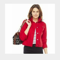 Red denim jacket Trendy red denim jacket. chaps Jackets & Coats Jean Jackets