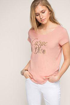 Esprit / T-shirt met folieprint, 100% katoen