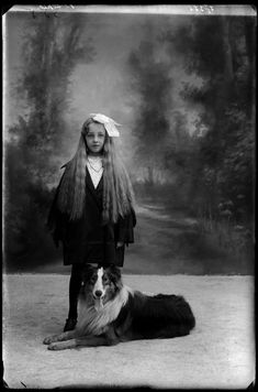Vintage photo of a Young girl and Collie. NORBERT GHISOLAND.