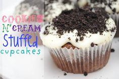 Cookies N' Cream Stuffed Cupcakes with White Chocolate #dessert #recipe