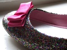 Going to upscale the girlie's beat up flats this weekend (while Dad is out of house, so he won't have glitter induced heart-attack).