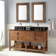"60"" Benoist Reclaimed Wood Console Double Vanity for Undermount Sink - Pine"