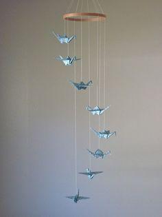 Baby Mobile / Children Decor Origami Crane Mobile / Art Mobile / Baby Nursery Home Unique Nature Gift Blue Birds Peace Robin Nest