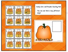 Here's a set of candy corn themed counting cards with numbers and ten frames.
