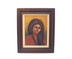 Vintage Painting Oil on Canvas Mid century by OceansideCastle Vintage Painting Oil on Canvas Mid century Portrait of Woman 1960s Pretty Brunette Carved Wood Frame Listed Artist Pat Bostrom $146.99