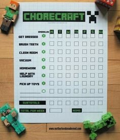 A Minecraft chore list to give rewards in the form of emeralds for a job well done. Great motivation for kids who love Minecraft. Very easy and creative!