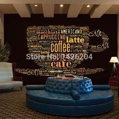 Custom European style leisure Coffee shop English letters 3d large murals theme restaurant bar background wallpaper mural