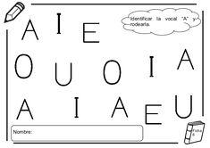 Fichas lectoescritura - Las vocales Teaching Letters, Math Equations, Peter Pan, Alphabet, Letter Activities, Peter Pans