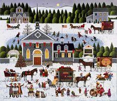 """""""Churchyard Christmas"""" ~ a 1000 piece jigsaw puzzle ~ Charles Wysocki"""