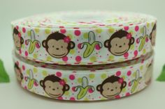 7/8'' Free shipping monkey with banana cartoon printed grosgrain ribbon bow diy party decoration custom wholesale OEM 22mm  H094-in Ribbons from Apparel  Accessories on Aliexpress.com $19.00