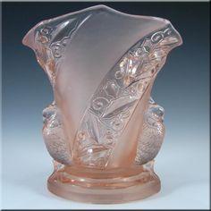 Brockwitz Art Deco Pink Glass 'Parakeet' Bird Vase - £99.99