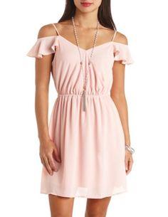 Surplice Cold Shoulder Chiffon Dress: Charlotte Russe