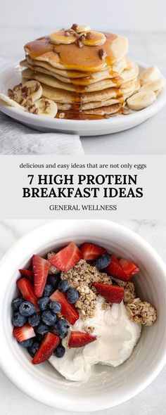 Healthy breakfast recipes are a great way to start the day. And in order to help curb your appetite throughout the day and prevent over eating, protein specifically at breakfast is key! We have compiled several unique and delicious high protein breakfast options for you to try to switch up your morning routine! High Protein Breakfast, Best Breakfast, Healthy Breakfast Recipes, Lunch Recipes, Easy Snacks, Healthy Snacks, On The Go Snacks, Vegetarian Lunch, Lunch To Go