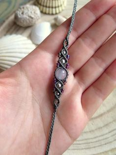 Gray woven gemstone bracelet with chalcedony pearl in bohemian gypsy chic style, micro macrame . - DIY Jewelry Simple Ideas - Jewelry - Gray woven gemstone bracelet with chalcedony pearl in bohemian-gypsy-chic style, micro macrame … - Macrame Jewelry, Macrame Bracelets, Gemstone Jewelry, Diy Jewelry, Jewelry Making, Jewelry Bracelets, Handmade Bracelets, Gemstone Bracelets, Macrame Knots