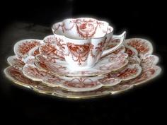Beautiful Antique Snowdrop Cameo Wileman Pre Shelley Tea Trio and Cake Plate