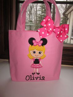 TOTE BAG Disney Minnie Mouse Girl Personalized Toddler Tote or Big Girl Purse on Etsy, $18.00