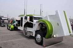 Custom green and white Peterbilt