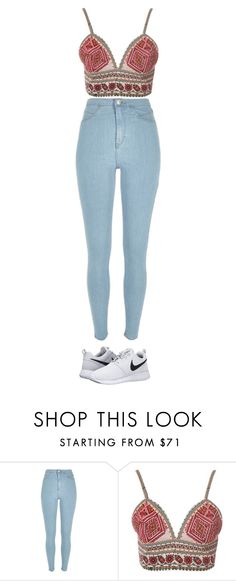 """""""NOTHING BUT TROUBLE"""" by jalenleanne13 on Polyvore featuring River Island, Glamorous and NIKE"""