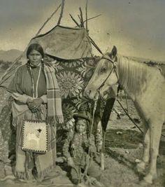 Ayatootonmi (aka Little Woman Mountain) the wife of Yellow Wolf, and their son, Alastsauked (aka Looking Away Off, aka Jasper Yellow Wolf) - Nez Perce - 1908