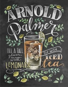Arnold Palmer - Chalk Art - Summer Art - Cocktails - Hand Drawn - Illustration - Home Decor - Art Print - Recipe Print - For the Kitchen - Tiki hut madness - - Summer Chalkboard Art, Chalkboard Print, Chalkboard Lettering, Chalkboard Designs, Chalkboard Drawings, Chalkboard Table, Deco Pastel, Lily And Val, Deco Marine