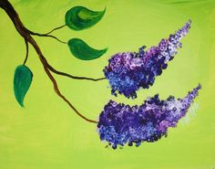 16 EASY Acrylic paintings you can do with cotton Swabs.   Simple Floral Lilacs with Q-tips in Acrylic Paint on Canvas Step by step tutorial. Anyone can do this really easily.  By The Art Sherpa