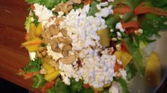 Dinner: green salad with carrots, mango, cottage cheese and cashews