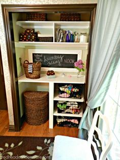 "Unscrew those nasty bi fold doors and make yourself a nook.  Here's a ""Laundry Folding Nook"" by redheadcandecorate.com."
