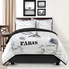 Paris Comforter Set King Size Eiffel Tower White and Black Color. This Set Includes: 1 Comforter, 2 Pillow Shams, and 1 Bedskirt. This Is an Beautiful Luxury Paris France Print Themed Comforter Set for Your King Bed. Plywood Furniture, Design Furniture, Paris Room Decor, Paris Rooms, Queen Comforter Sets, Bedding Sets, Dorm Bedding, Map Paris, Paris Theme