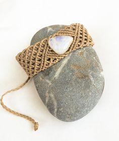 Moonstone macrame bracelet, wide macrame bracelet, natural rainbow moonstone, shine, boho bracelet, women's bracelet, surf, beach, gift