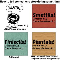 Learning Italian Language ~ How to tell someone to stop doing something