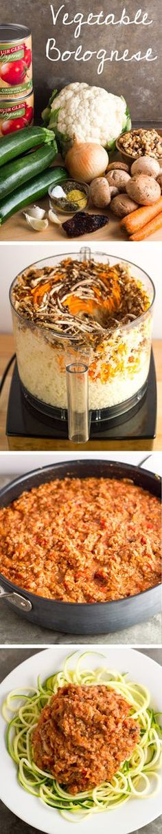 """This vegetable bolognese has all the goodness of pasta with a chunky, """"meaty"""" marinara sauce, but is made entirely of vegetables and nuts!  Gotta give some vegan and gluten free love!"""