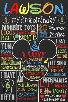 Do it in theme of their birthday every yesr. Mickey Mouse Birthday Mickey Mouse by CustomPrintablesNY Mickey 1st Birthdays, Mickey Mouse First Birthday, Mickey Mouse Clubhouse Birthday Party, Mickey Mouse Parties, Mickey Party, Baby First Birthday, First Birthday Parties, Birthday Ideas, Mickey Mouse Clubhouse Decorations