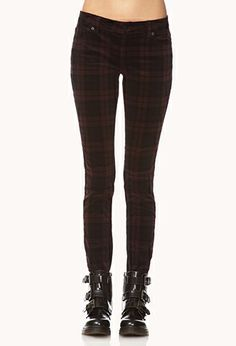 Plaid Corduroy Skinny Pants | FOREVER 21 - 2002246161