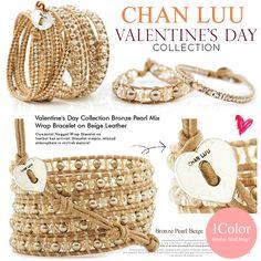 正規品 CHAN LUU チャンルー バレンタイン 限定品 ブロンズ パール クリスタル ミックス 5連 レザー ブレスレット Valentine's Day Collection Bronze Pearl Mix Wrap Bracelet on Beige Leather【fsp2124】【jg】【予】【楽天市場】