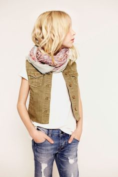distressed jeans, loose top, vest, scarf messy hair...got it