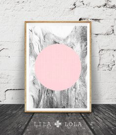 Geometric Print, Marble Print, Pink and Grey Geometric Art, Black and White Decor, Minimal Circle Wall Art, Printable Wall Art, Scandinavian